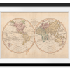 Vintage Map of the World IV | Rectangle print with mat