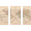 Vintage Map of the World IV | 3-Piece Rectangle Canvas