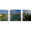 Harbor, City And Bridge | 3-Piece Panaromic Canvas
