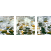 Breaking wave and Pebbles at Calumet Beach | 3-Piece Panaromic Canvas