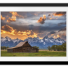 Moulton Barn Sunset Fire | Rectangle print with mat