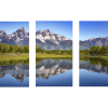 Ripples in the Tetons   3-Piece Rectangle Canvas