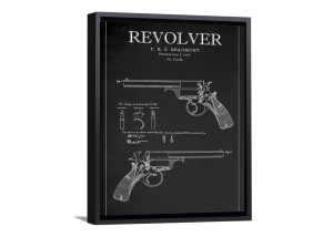 Blackboard Patent - Beaumont Revolver Framed Canvas
