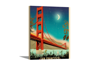 Golden Gate Bridge Night Canvas